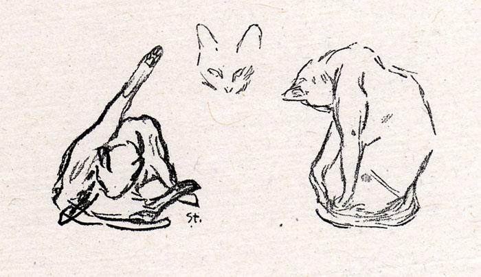 Three Cats Study - Theophile Steinlen