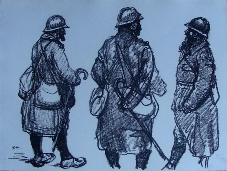 Trois permissionaires barbus, 1916 - Theophile Steinlen