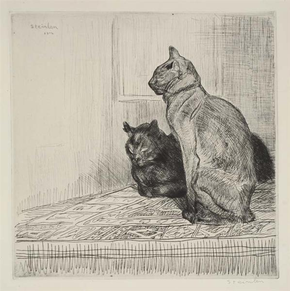 Two Cats on a cabinet, 1914 - Theophile Steinlen