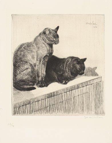 Two sitting cats - Theophile Steinlen