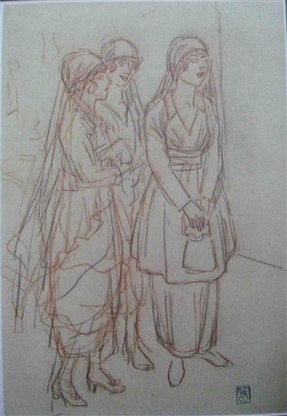 Veuves d'un Louis  sketch - Theophile Steinlen