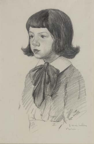 Young girl study - Theophile Steinlen