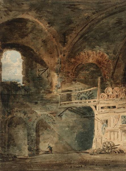 The Ruins of the Emperor Julian's Baths, Hôtel de Cluny, Paris, 1802 - Томас Гьортін