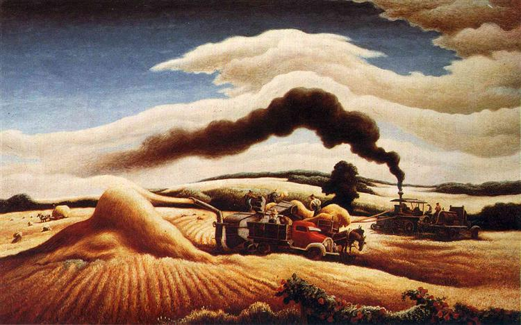 Threshing Wheat, 1939 - Thomas Hart Benton