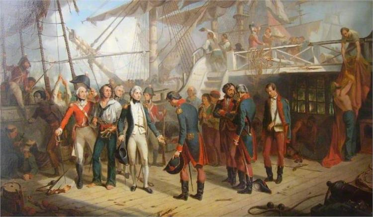 Nelson Receiving the Swords of the Spanish Surrendering on Board the 'San Jose' - Thomas Jones Barker