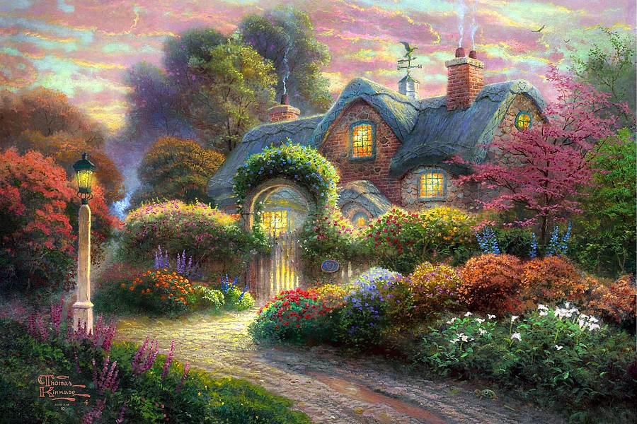 rosebud cottage  2011 - thomas kinkade