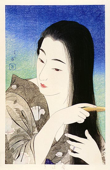 Combing the Hair, 1933 - Torii Kotondo
