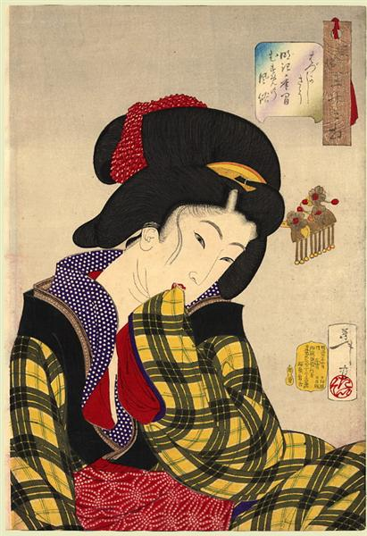 Looking shy - The appearance of a young girl of the Meiji era, 1888 - Yoshitoshi