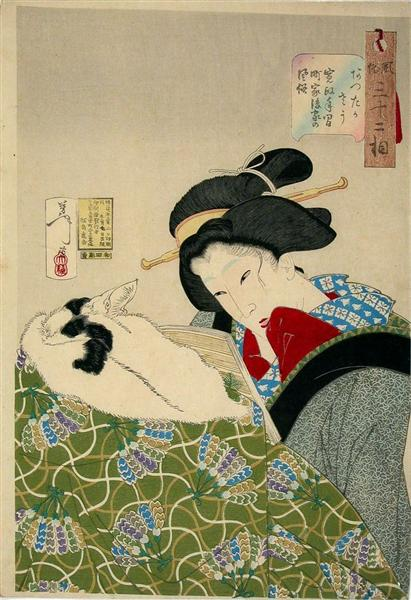 Looking warm - The Appearance of an Urban Widow of the Kansei era - Tsukioka Yoshitoshi