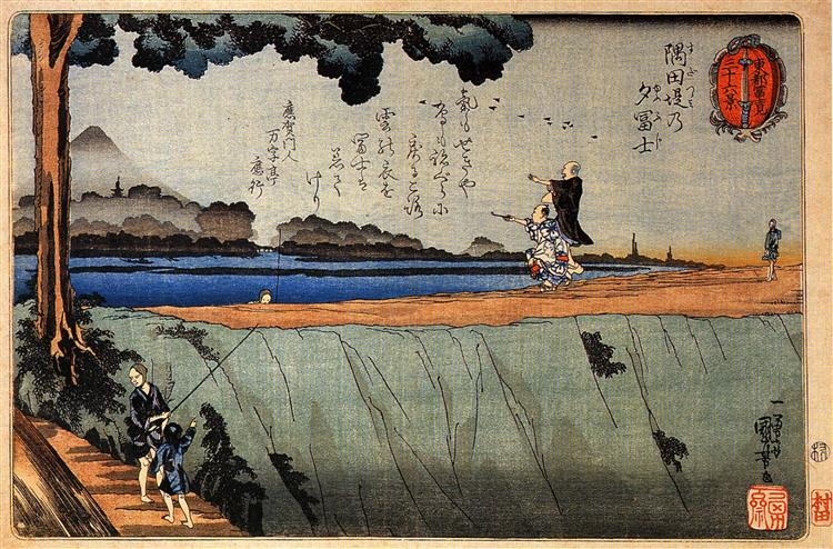 Mount Fuji from the Sumida River embankment, c.1842 - Utagawa Kuniyoshi