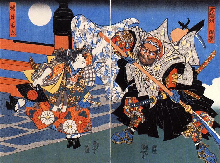 Uchiwakamaru fighting Benkei on Gojo bridge - Utagawa Kuniyoshi