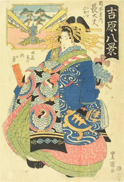 Courtesan Choto With Two Kamuro (Young Attendants) Behind Her, c.1830 - Utagawa Toyokuni II.