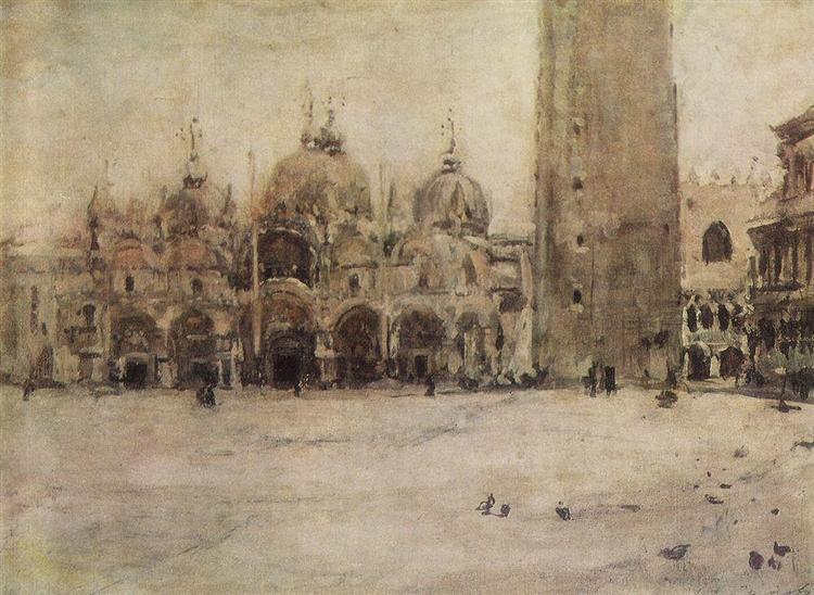 St. Mark Plaza in Venice, 1887 - Valentin Serov