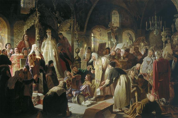Nikita Pustosviat. Dispute on the Confession of Faith, 1881 - Vasily Perov