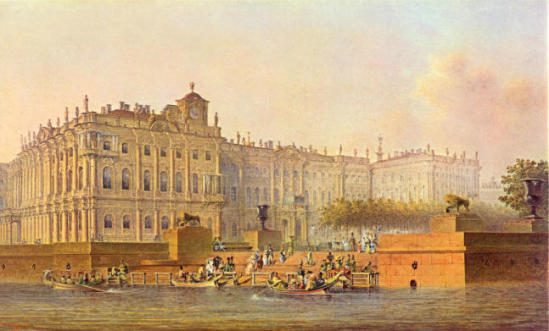 View of the Winter Palace from the west, 1840 - Vasily Sadovnikov