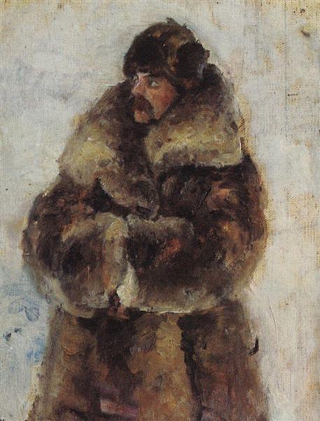 """A. I. Surikov with fur coat. Study to """"Taking the snow town""""., c.1890 - Vasili Súrikov"""