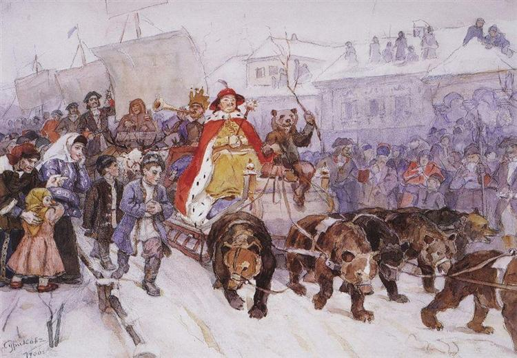 Big masquerade in 1772 on the streets of Moscow with the participation of Peter I and princer I. F. Romodanovsky, 1900 - Vasily Surikov