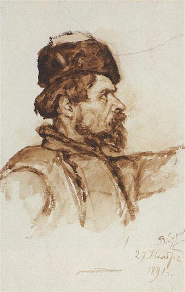 Cossack's head, 1891 - Vasily Surikov