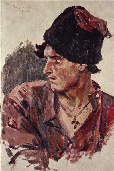 Head of a young cossack, 1905 - Vasily Surikov