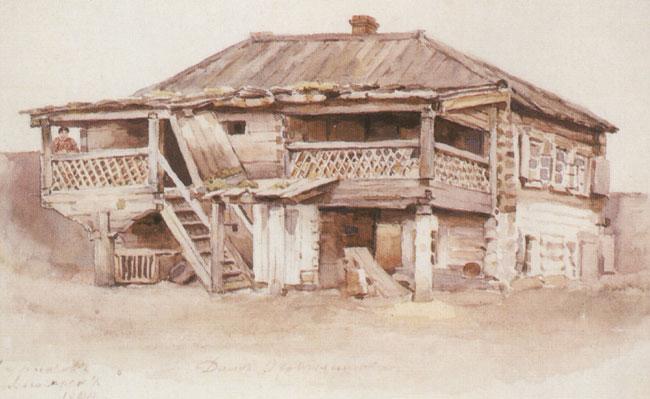 Okhotnikov's house in Krasnoyarsk, 1890 - Vasily Surikov
