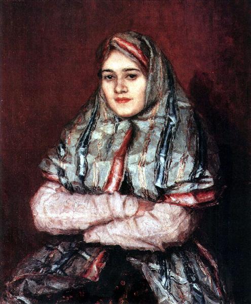 Townswoman. Portrait of Alexandra I. Yemelyanova nee Schrader, 1902 - Vasily Surikov