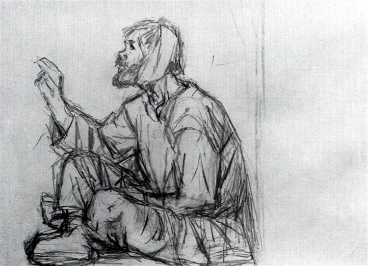 "Whacky, seated on the ground (Study to ""Boyarynya Morozova"") - Vasily Surikov"