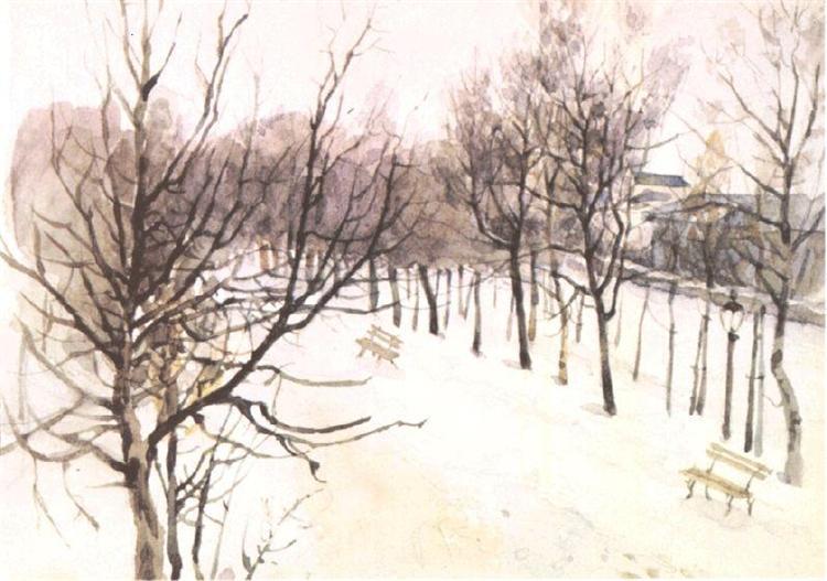 Zubovsky boulevard in winter, c.1881 - Vasily Surikov
