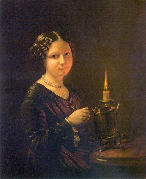 Girl with a candle - Vasily Tropinin
