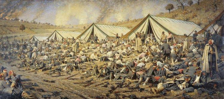 After the attack. Dressing station near Plevna, 1881 - Wassili Wassiljewitsch Wereschtschagin