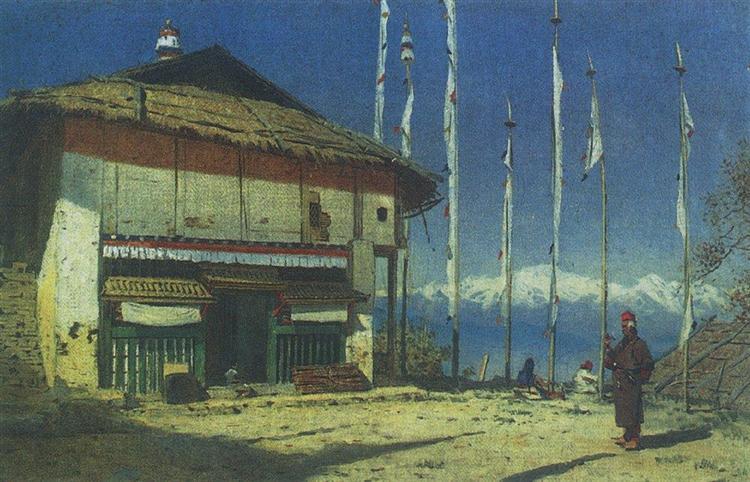 Buddhist temple in Darjeeling. Sikkim, 1874 - Vasily Vereshchagin