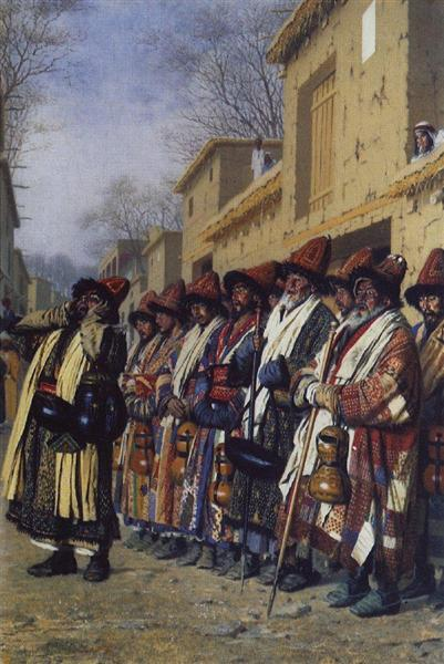 Chorus of Dervishes, begging. Tashkent, 1870 - Vasily Vereshchagin