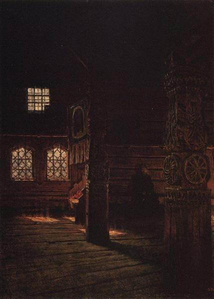 Interior of the Wooden Church of St. Peter and St. Paul in Puchug, 1894 - Vasily Vereshchagin