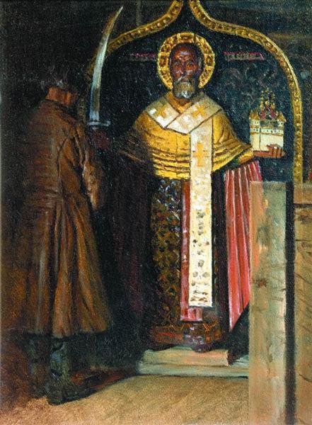The icon of St. Nicholas with headwater Pinega, 1894 - Vasily Vereshchagin