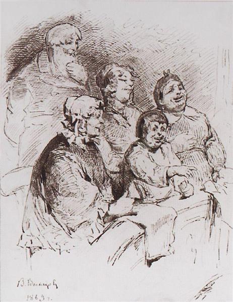 Merchant family in the theater, 1869 - Viktor Vasnetsov