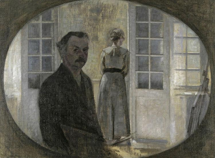 Double portrait of the artist and his wife seen through a mirror, 1911 - Vilhelm Hammershoi