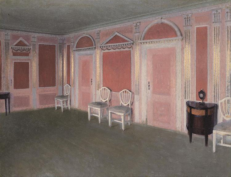 Interior in Louis Seize style. From the artist's home. Rahbeks Allé, 1897 - Vilhelm Hammershoi