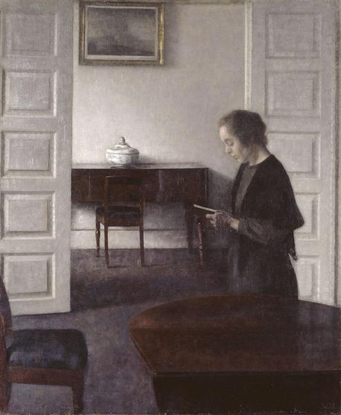 Interior with a Reading Lady, 1900 - Vilhelm Hammershoi