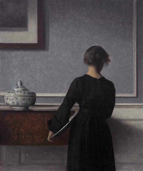 Interior with Young Woman from Behind, 1904 - Vilhelm Hammershoi