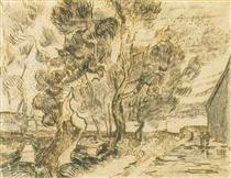 A Corner of the Asylum and the Garden with a Heavy, sawn-off Tree - Vincent van Gogh