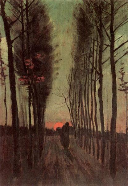 Avenue of Poplars at Sunset, 1884 - Vincent van Gogh - WikiArt.org