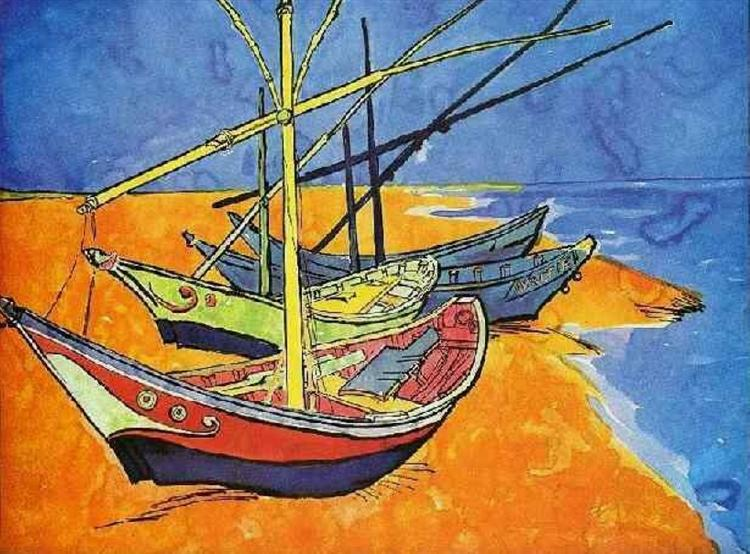 Fishing Boats on the Beach at Saintes-Maries-de-la-Mer - van Gogh Vincent