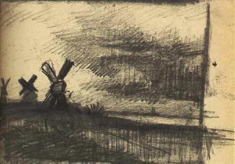 Mills in the Neighbourhood of Dordrecht, 1877 - Vincent van Gogh