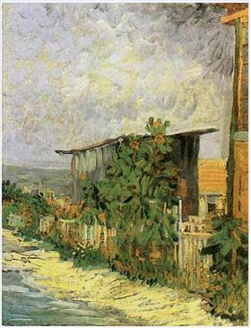 Trayectoria de Montmartre con los girasoles, Vincent van Gogh