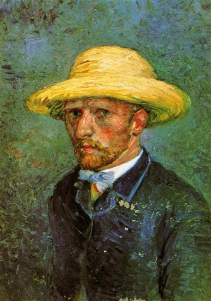 Self Portrait With Straw Hat 1887 Vincent Van Gogh