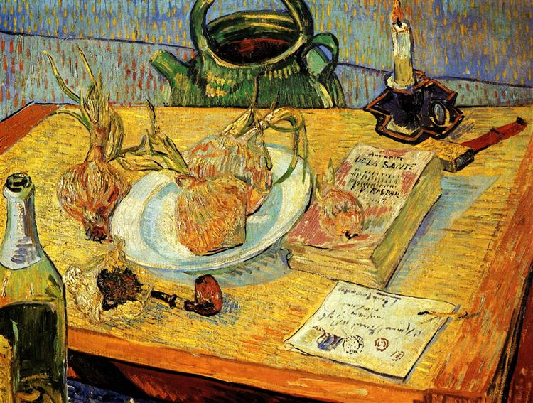 Still Life with Drawing Board, Pipe, Onions and Sealing-Wax, 1889 - Vincent van Gogh