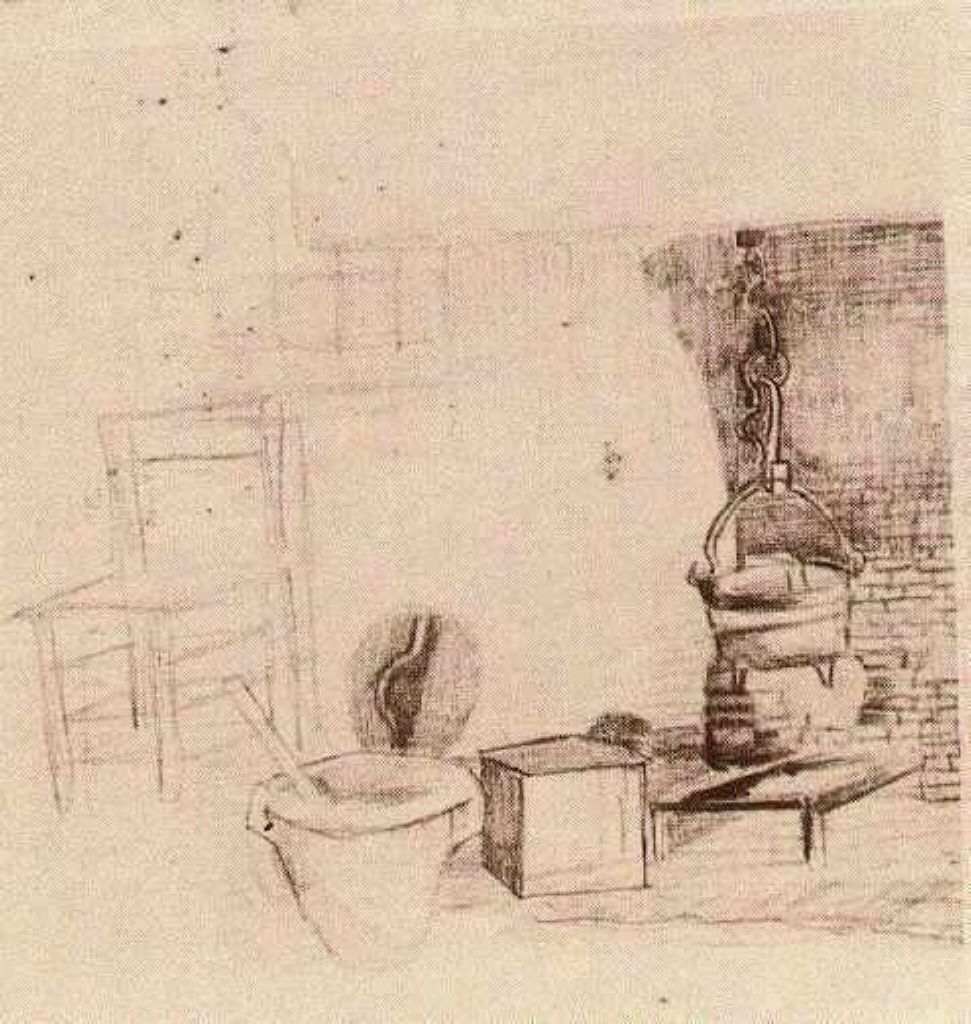 Unfinished Sketch of an Interior with a Pan above the Fire, 1881