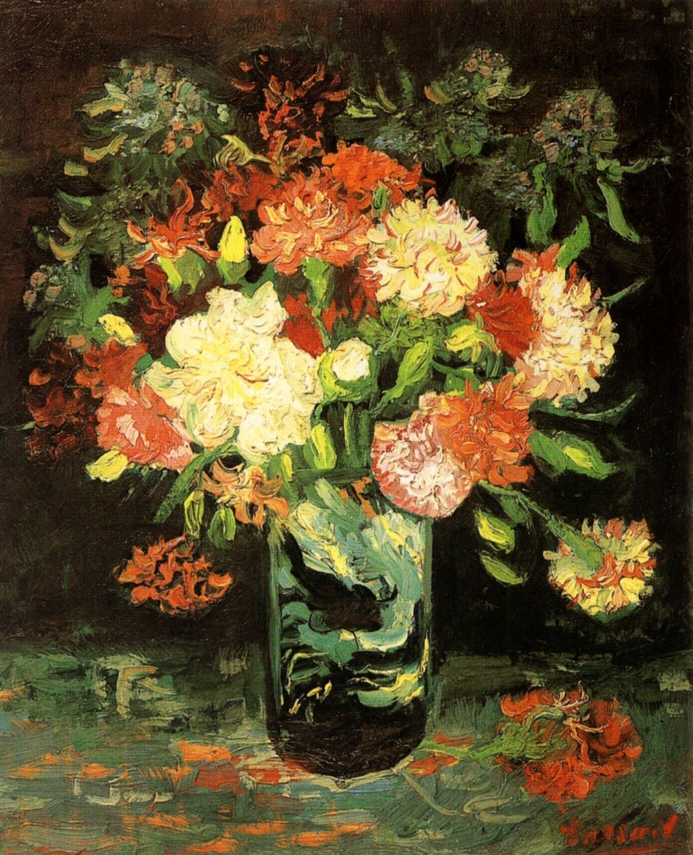 Vase with Carnations 1886 Vincent van Gogh WikiArt