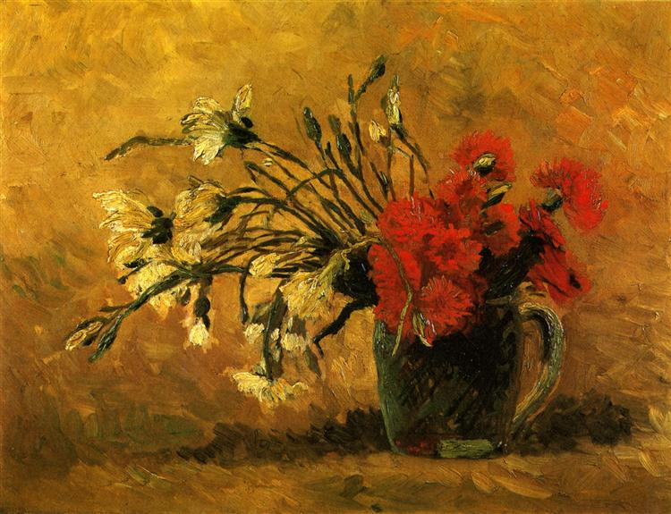 Vase with Red and White Carnations on a Yellow Background, 1886 - Vincent van Gogh