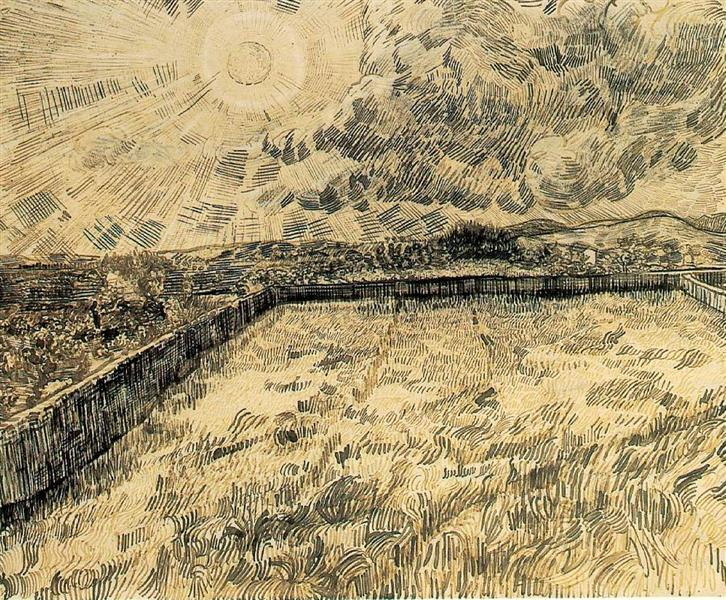 Wheat field with sun and cloud, 1889 - Vincent van Gogh