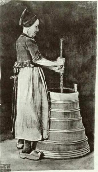 Woman Churning Butter, 1881 - Vincent van Gogh - WikiArt.org